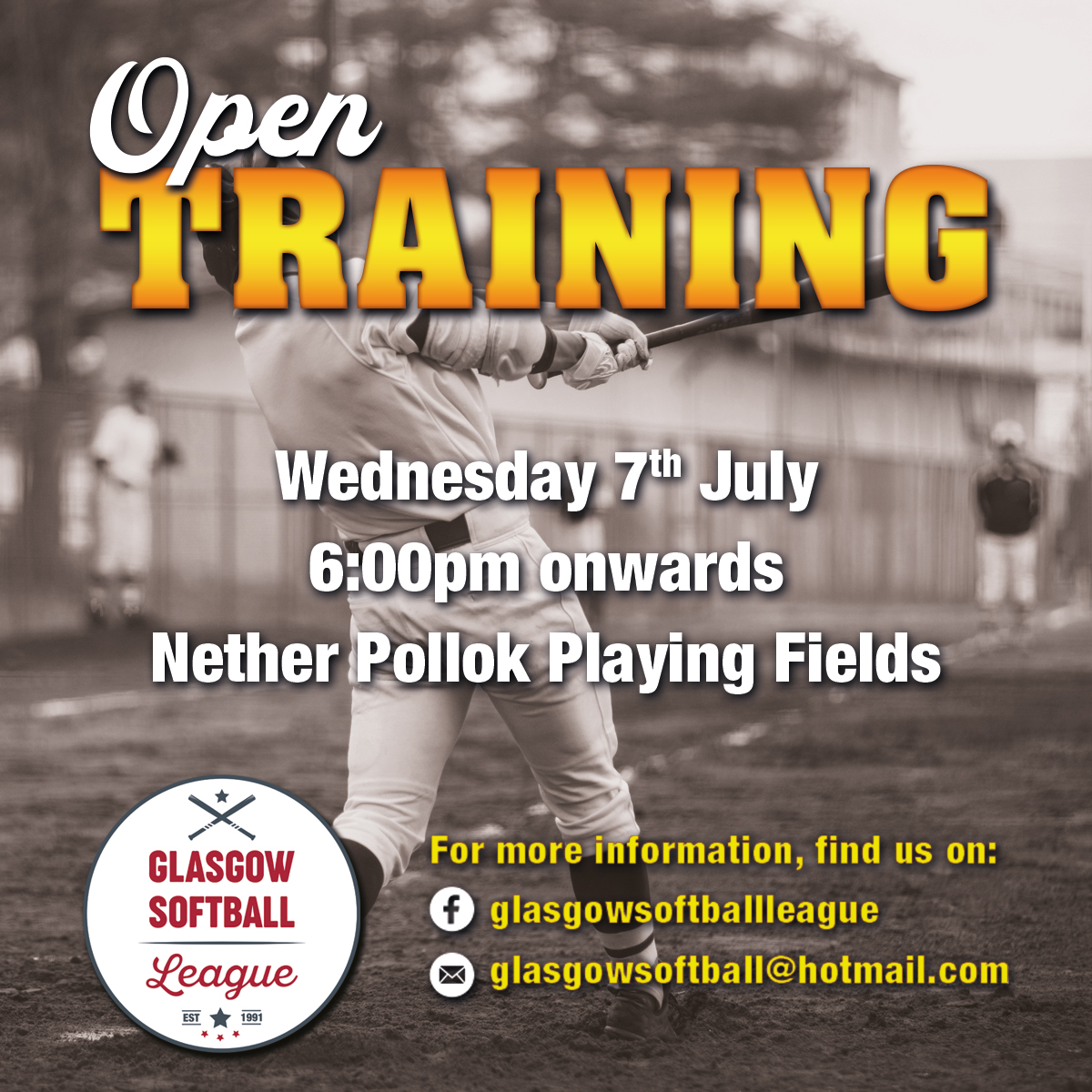 Open training wednesday 7th july 6:00pm onwards at Nether Pollock Playing fields.